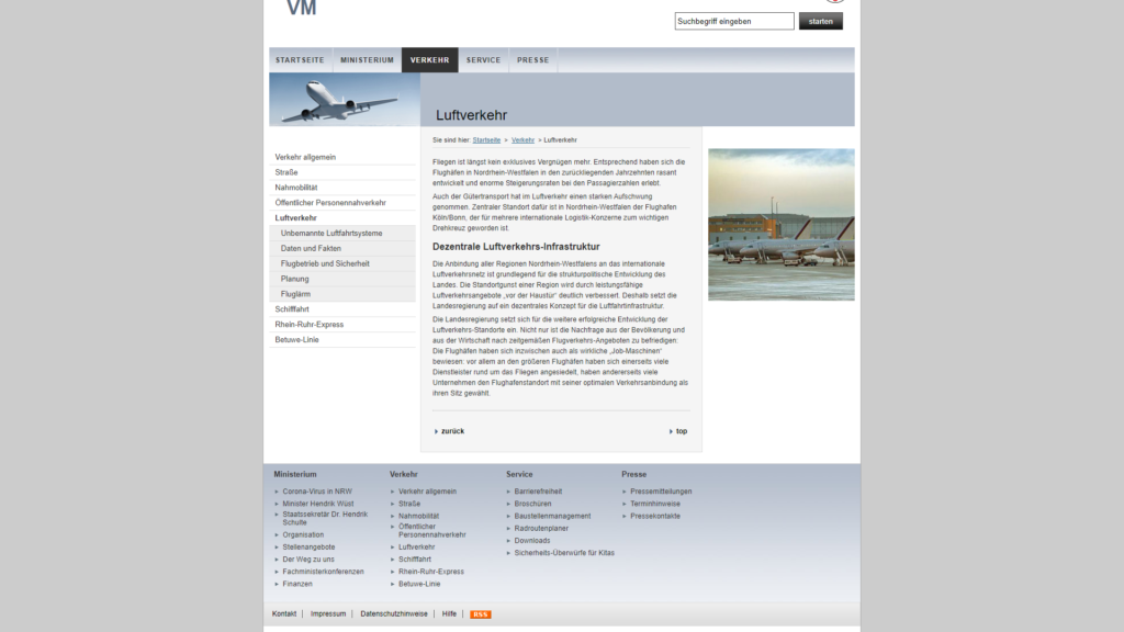 Ministerium fuer Verkehr NRW Luftverkehr